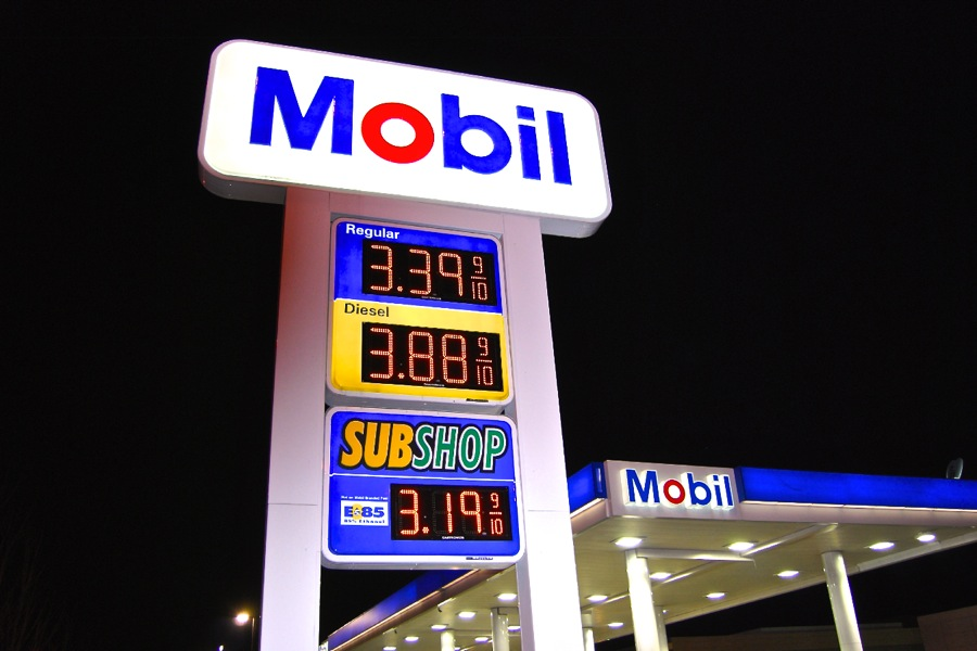 The Mobil Gas Station in Elk Grove featuring LED Price Signs